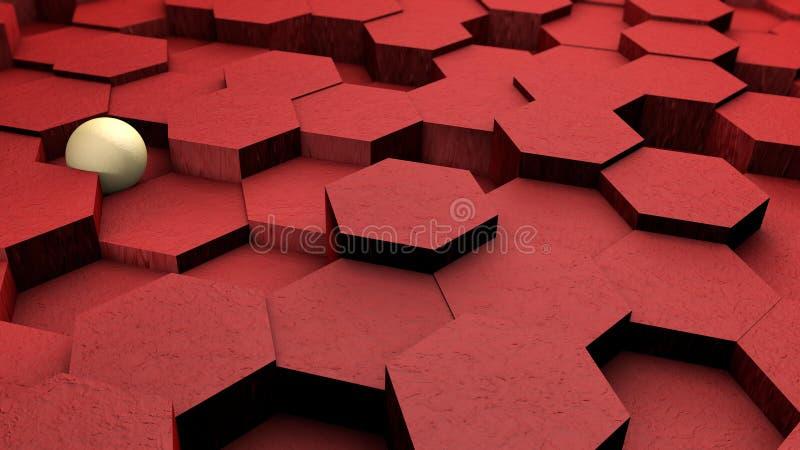Ejemplo futurista abstracto 3D de hexágonos rojos con la bola blanca, esfera en el fondo Fondo geométrico abstracto, 3D ilustración del vector