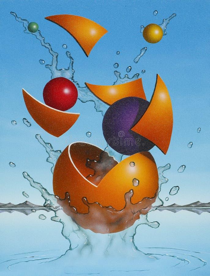 Ejemplo futurista colorido del estallido de las esferas stock de ilustración