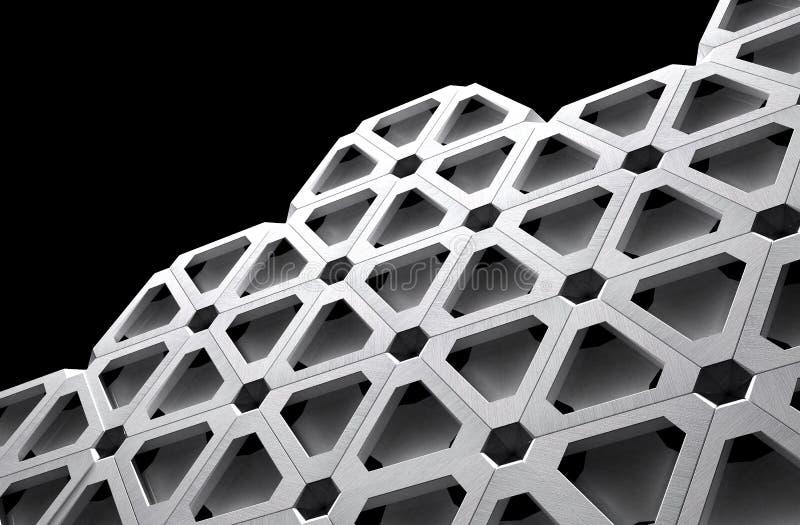 Ejemplo futurista de la rejilla 3D del metal de High Tech stock de ilustración