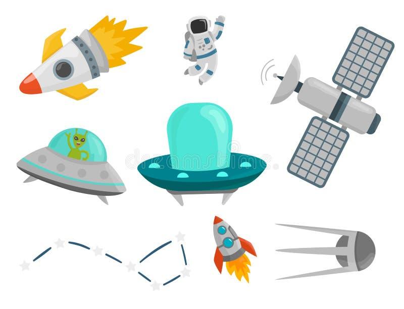 Ejemplo futuro del vector de lanzadera del cohete del cosmonauta del vehículo espacial de la exploración de la nave espacial de l ilustración del vector