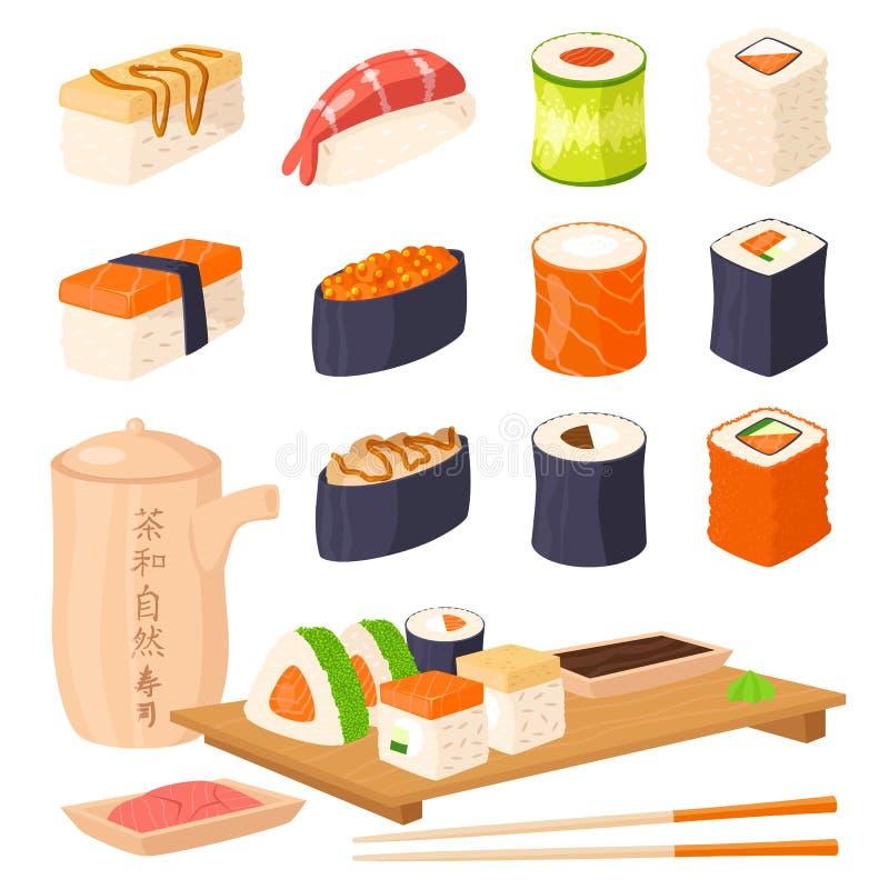 Ejemplo gastrónomo sano plano del vector del rollo de la cultura de la comida de Asia de los iconos de la comida tradicional japo ilustración del vector