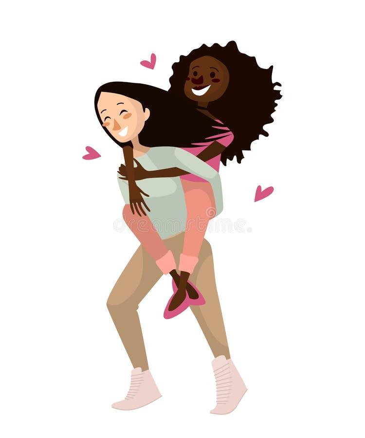 Ejemplo gay del vector de los pares muchachas homosexuales lindas aisladas en un fondo blanco sistema gay de la gente del diseño  ilustración del vector