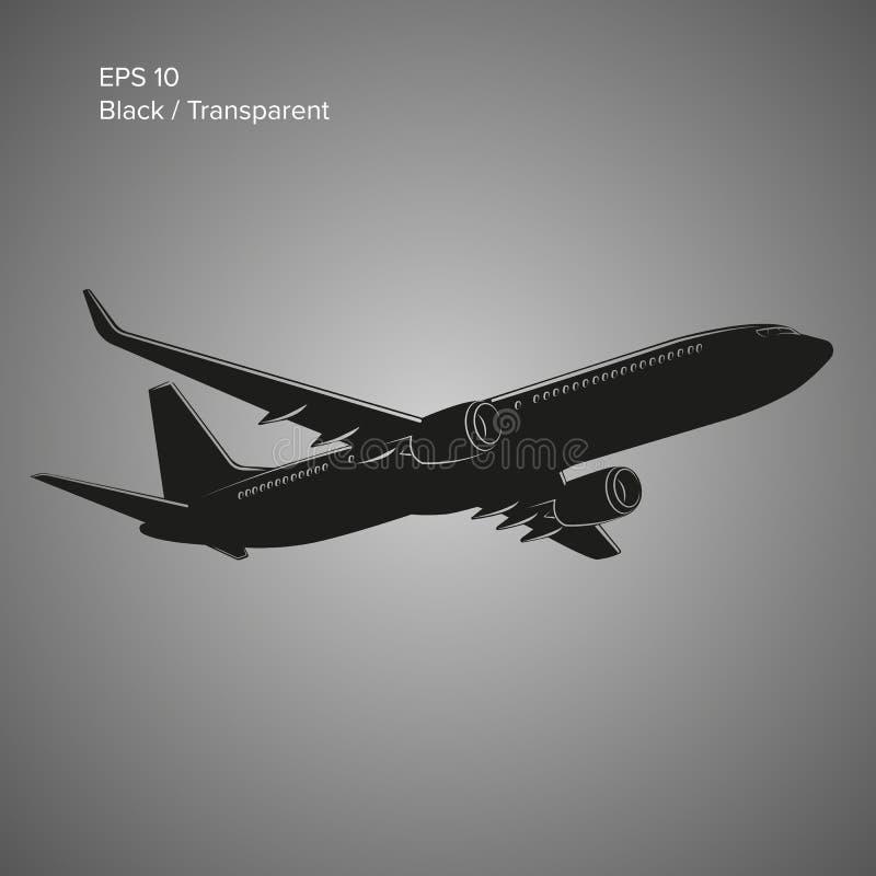 Ejemplo gemelo moderno del vector del avión de pasajeros del jet del motor Aviones de pasajero comerciales grandes stock de ilustración