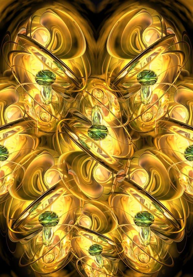 Ejemplo generado por ordenador único artístico 3d del fondo de oro liso de las ilustraciones de los fractales stock de ilustración