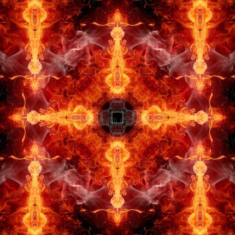 Ejemplo generado por ordenador artístico abstracto 3d de las ilustraciones cruzadas inflamables ahumadas de glorificación religio ilustración del vector
