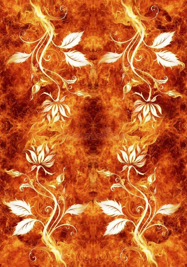 Ejemplo generado por ordenador artístico abstracto 3d de las ilustraciones floridas en un fondo ardiente único stock de ilustración