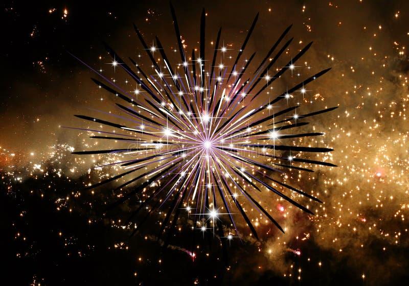 Ejemplo generado por ordenador artístico abstracto 3d de un fondo del fuego artificial stock de ilustración