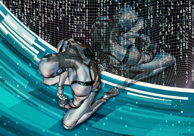 Ejemplo generado por ordenador artístico abstracto 3d de un hombre inteligente artificial deprimido que fija en derrota en datos  stock de ilustración