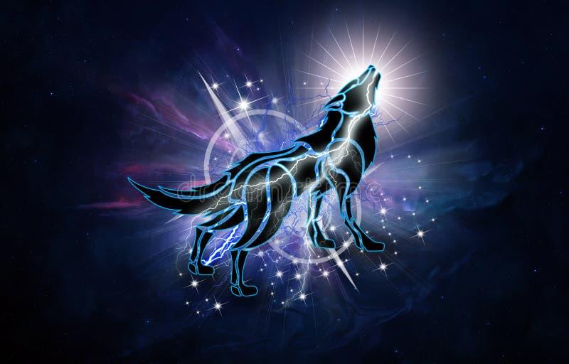 Ejemplo generado por ordenador artístico abstracto 3d de un lobo potente en un fondo de la galaxia de la nebulosa libre illustration