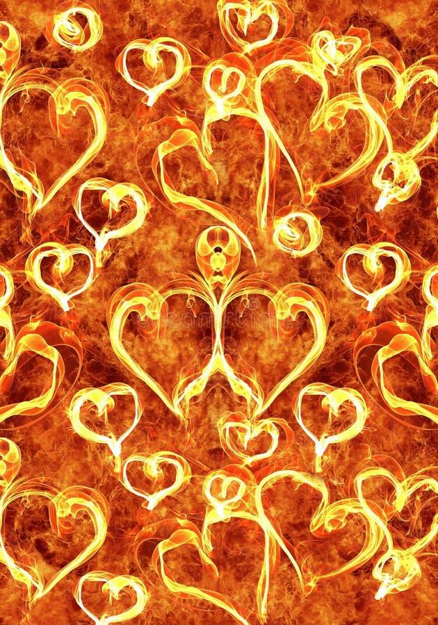Ejemplo generado por ordenador artístico del extracto 3d de corazones en ilustraciones ardientes como fondo único libre illustration
