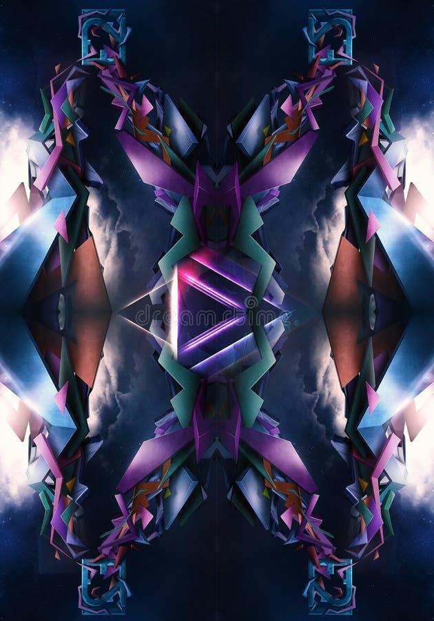 ejemplo generado por ordenador 3d del fondo enérgico artístico liso de las ilustraciones de los modelos del fractal libre illustration