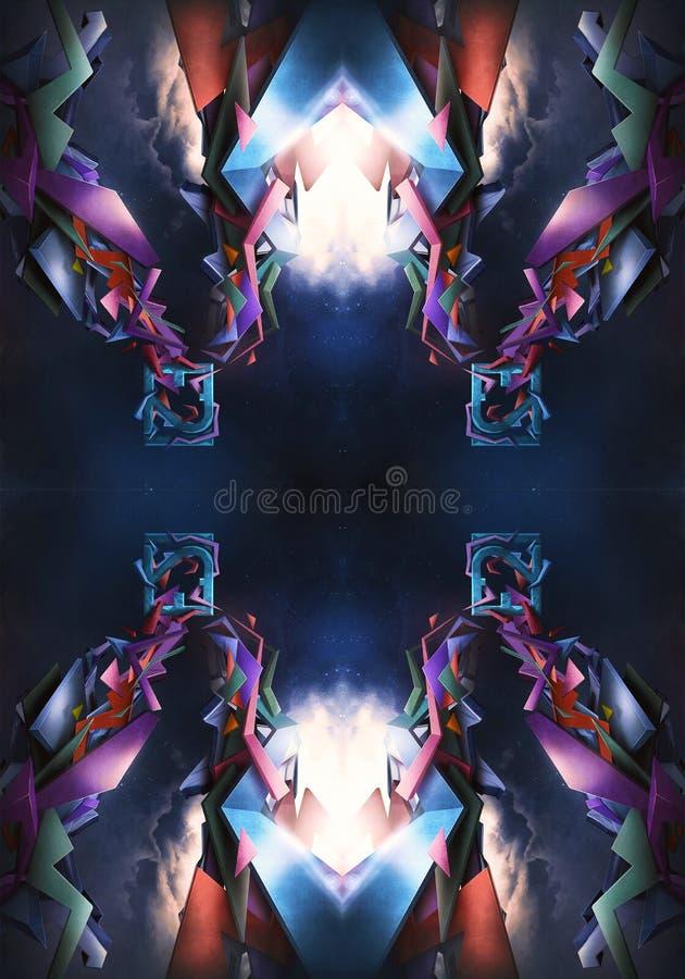 ejemplo generado por ordenador 3d del fondo enérgico moderno artístico de las ilustraciones de los modelos del fractal libre illustration