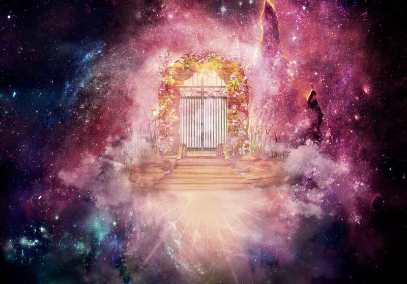 Ejemplo generado por ordenador de la representación artística 3d de las ilustraciones de la puerta de la dimensión de un cielo má ilustración del vector