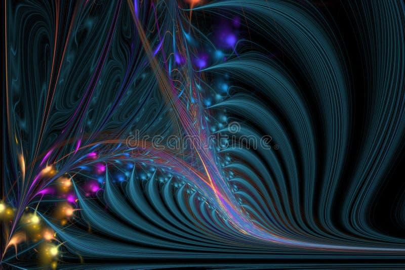 Ejemplo generado por ordenador del fractal del espiral sofisticado stock de ilustración