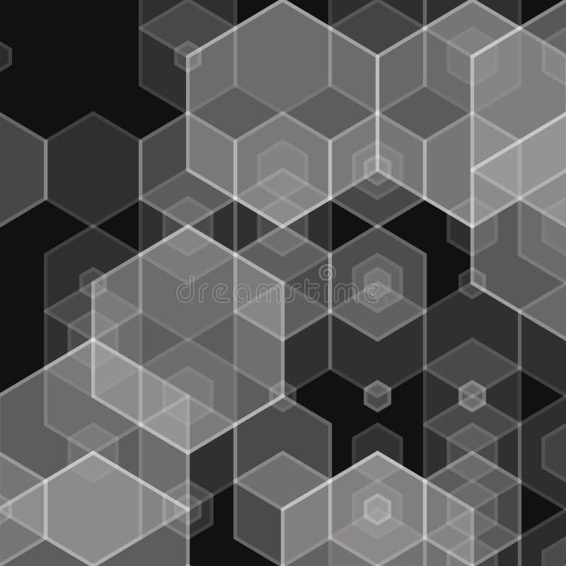 Ejemplo geométrico creativo en un estilo del polyginal Figuras hexagonales grises en un fondo negro Ideas para el negocio ilustración del vector