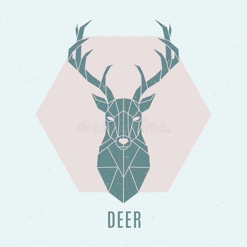 Ejemplo geométrico de los ciervos Emblema nórdico abstracto de los ciervos libre illustration