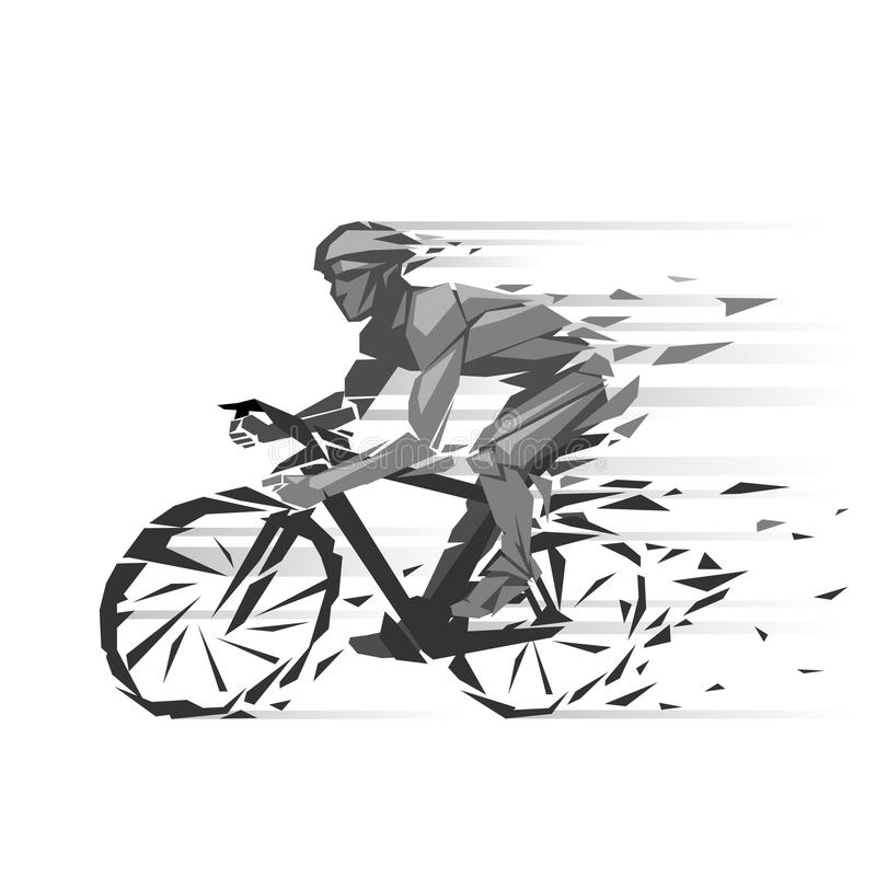 Ejemplo geométrico del ciclista stock de ilustración
