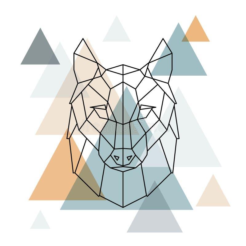 Ejemplo geométrico del lobo Línea polivinílica baja arte del vector libre illustration