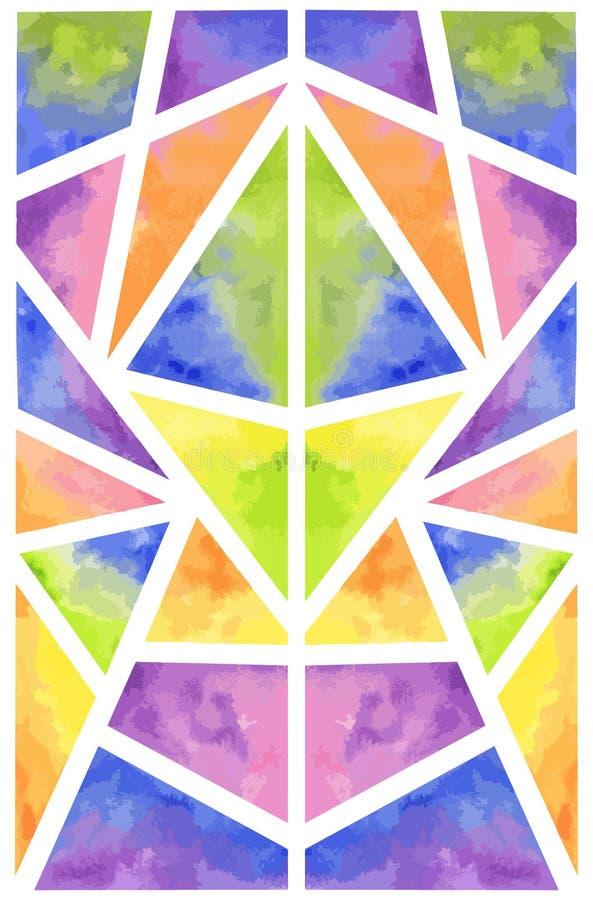 Ejemplo geométrico del modelo de la acuarela del arco iris colorido abstracto simétrico libre illustration