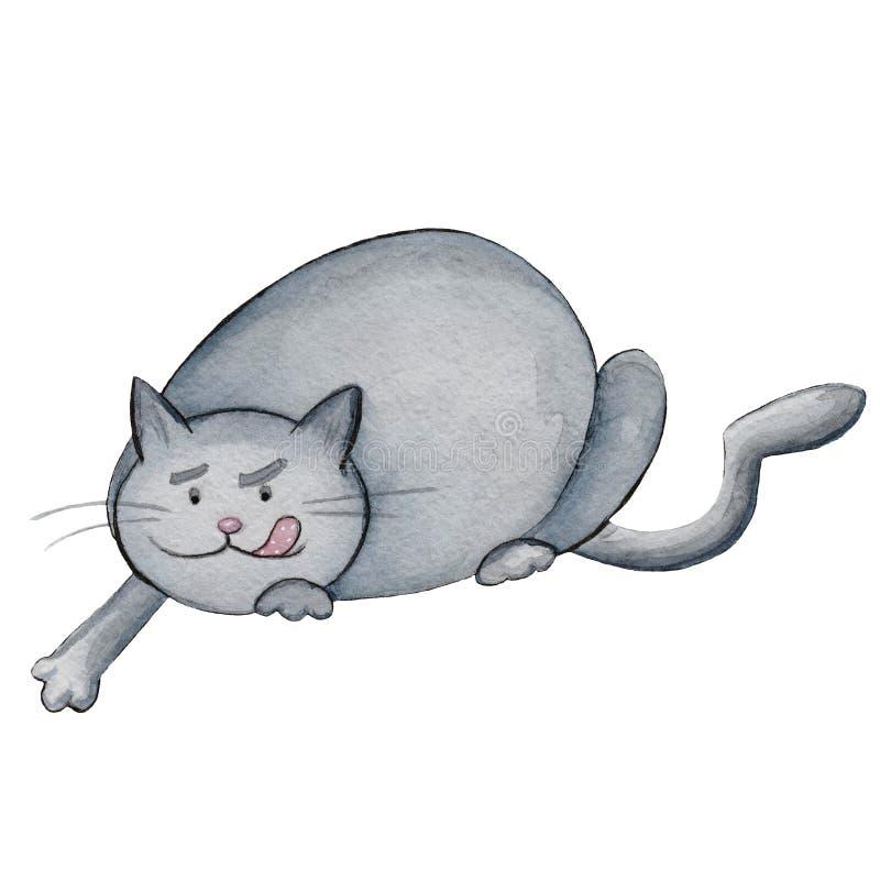 Ejemplo gordo del gato del cazador de la acuarela ilustración del vector