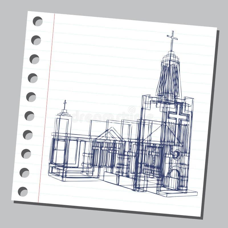 Ejemplo gráfico con la arquitectura decorativa 4 stock de ilustración
