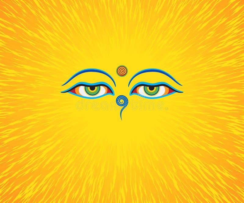 Ejemplo gráfico de los ojos del ` s de Buda ilustración del vector