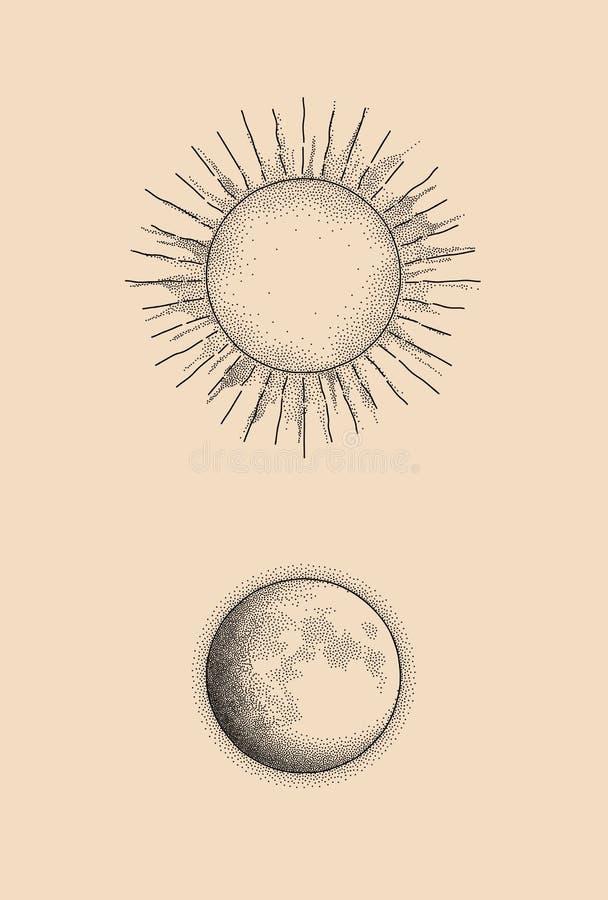 Ejemplo gráfico de los puntos sol y luna stock de ilustración