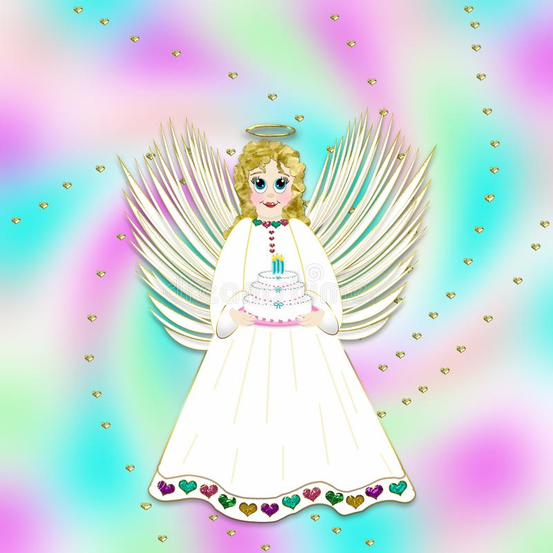 Ejemplo gráfico de poco Angel Holding Birthday Cake stock de ilustración