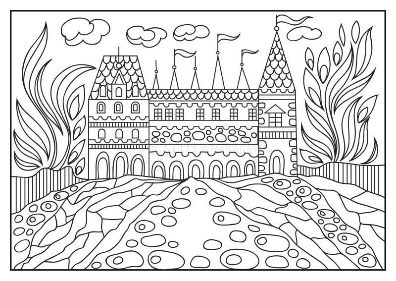 Ejemplo gráfico de un castillo en el fondo de la naturaleza 1 ilustración del vector