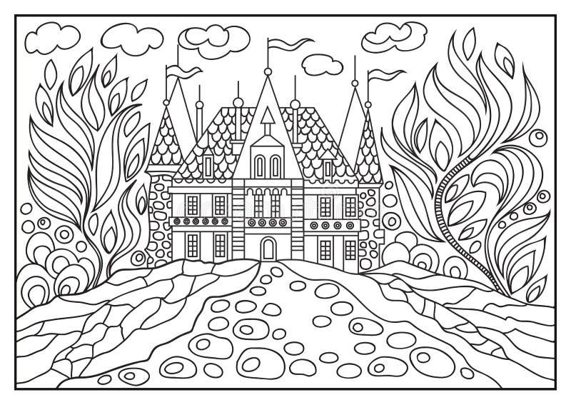 Ejemplo gráfico de un castillo en el fondo de la naturaleza 6 stock de ilustración