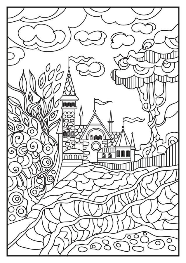 Ejemplo gráfico de un castillo en el fondo de la naturaleza 9 stock de ilustración
