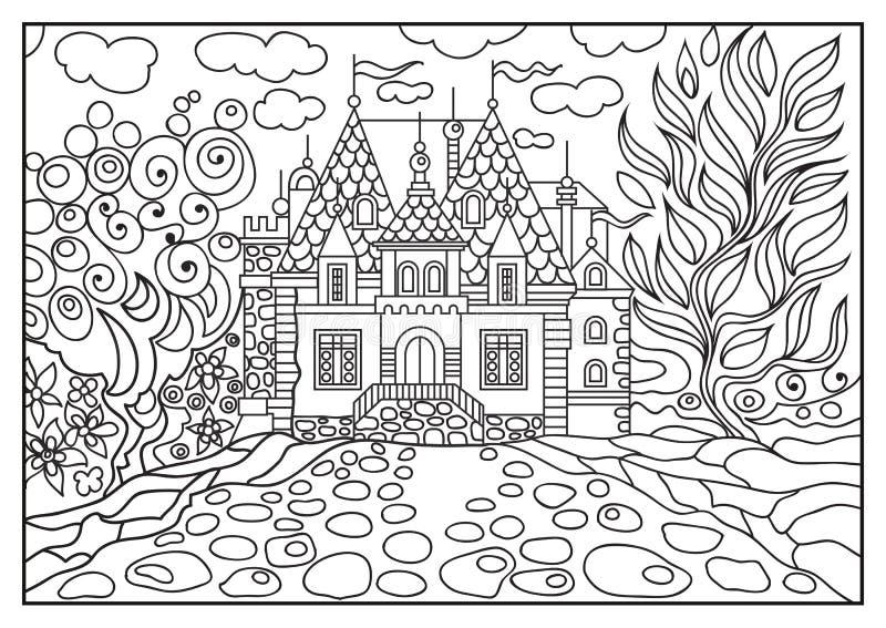 Ejemplo gráfico de un castillo en el fondo de la naturaleza 8 stock de ilustración