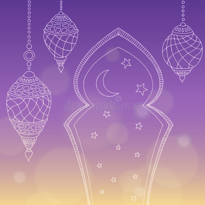 Ejemplo gráfico del bosquejo del fondo del color de estrella de la luna de las lámparas del Ramadán stock de ilustración