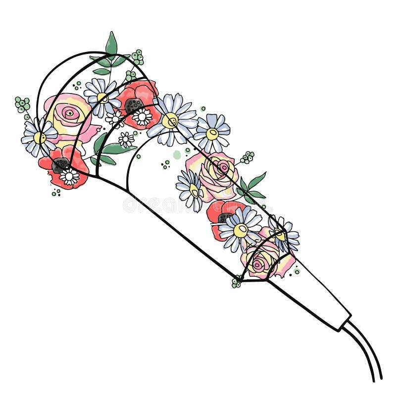 Ejemplo gráfico exhausto de la mano del vector del micrófono con las flores, hojas Dibujo de bosquejo, estilo del garabato Línea  libre illustration