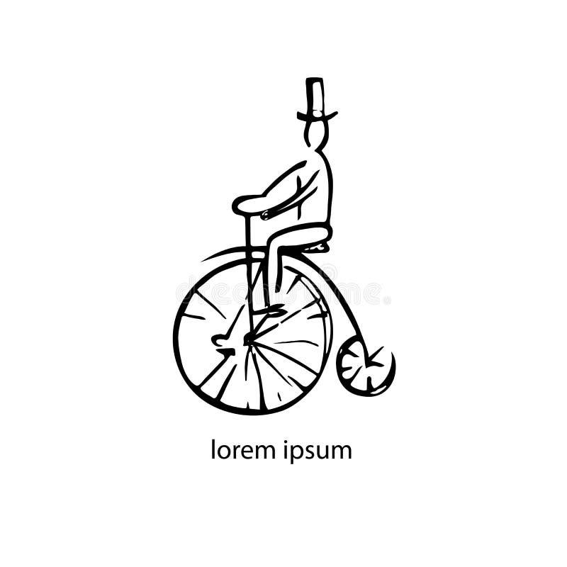 Ejemplo gráfico negro con el hombre abstracto en la bicicleta retra ilustración del vector