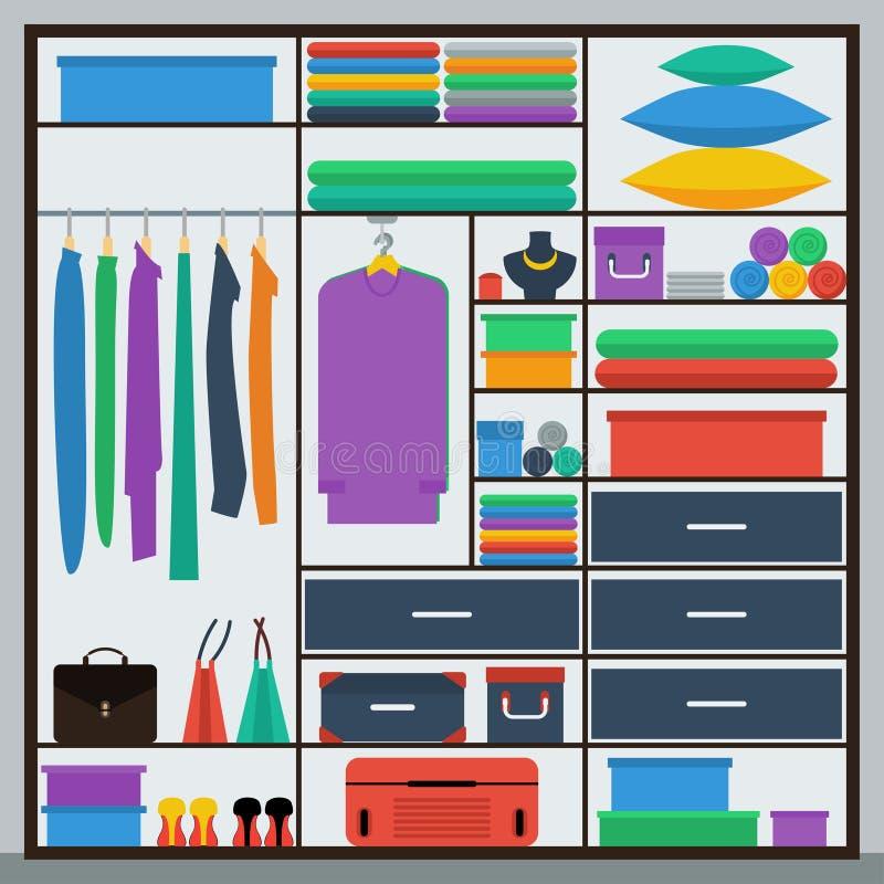 Ejemplo gráfico simple brillante en colores planos de moda del estilo con el guardarropa de la resbalar-puerta para el uso en dis ilustración del vector