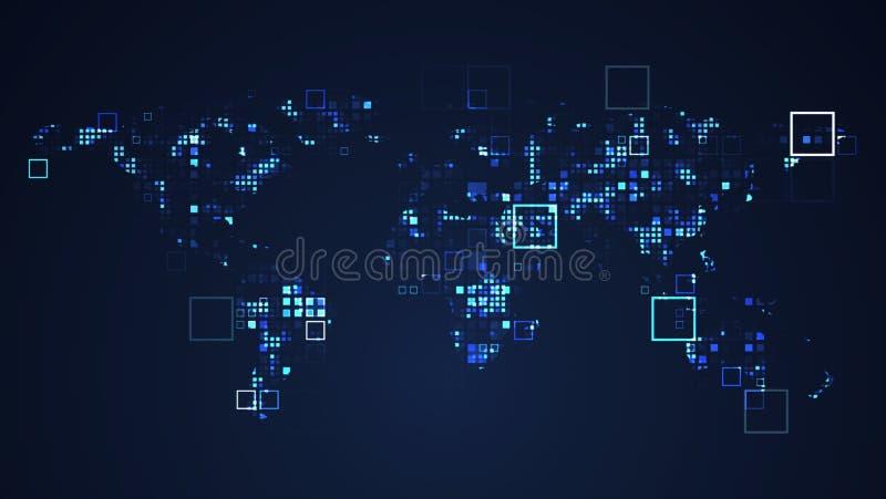Ejemplo gr?fico de la tecnolog?a de Digitaces de la red del mapa del mundo stock de ilustración