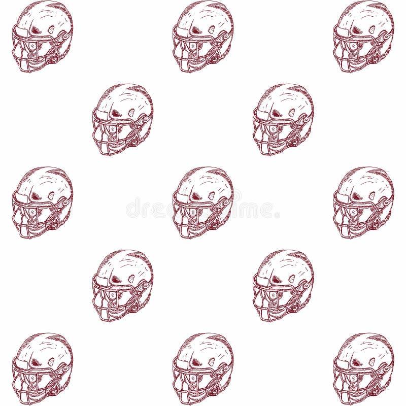 Ejemplo grabado del estilo para los carteles, la decoración y la impresión Bosquejo exhausto de la mano del casco de fútbol ameri ilustración del vector