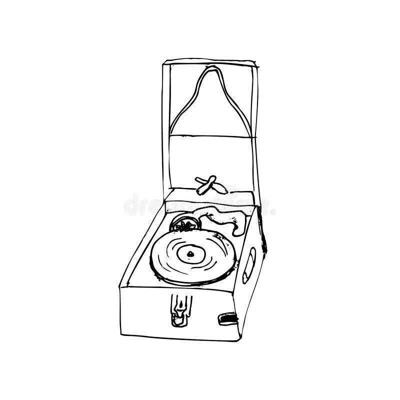Ejemplo grabado exhausto del gram?fono de la mano ilustración del vector