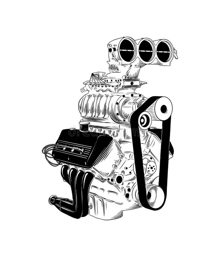 Ejemplo grabado vector para los carteles, bosquejo exhausto del estilo de la mano de la decoración del motor de coche en negro ai stock de ilustración