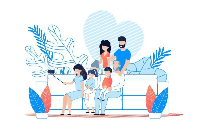 Ejemplo grande de la met?fora de la historieta de Selfie de la familia libre illustration