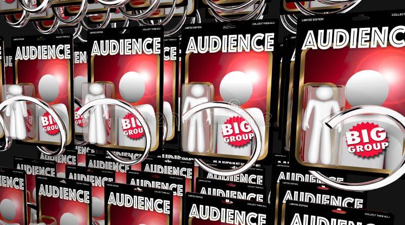 Ejemplo grande de la muchedumbre 3d del grupo de la máquina expendedora de la gente de la audiencia ilustración del vector