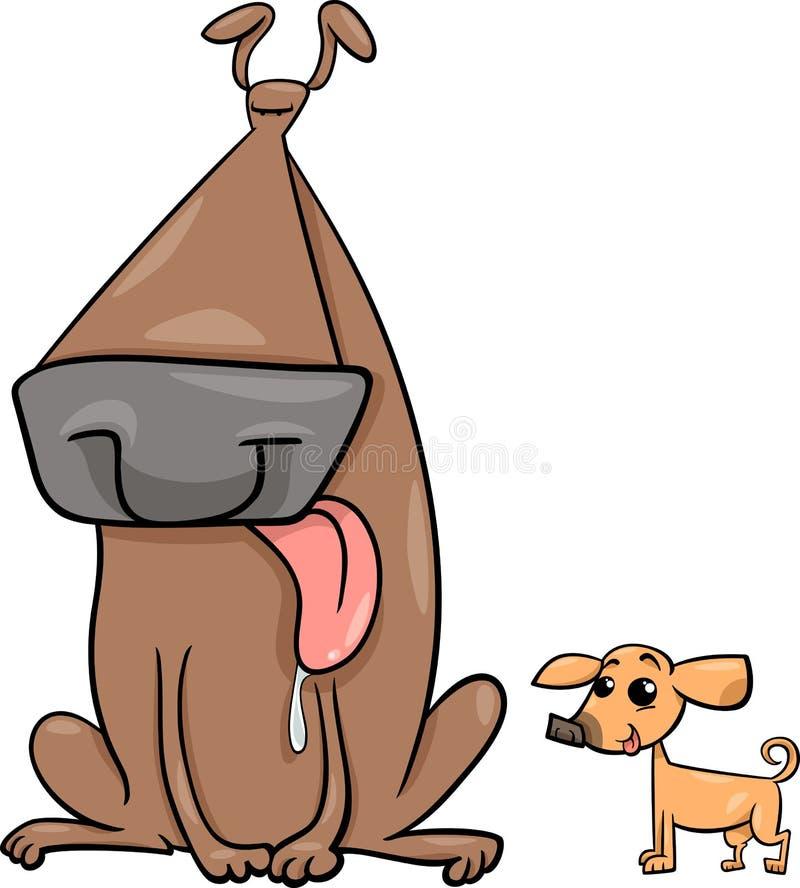 Ejemplo grande y pequeño de la historieta de los perros libre illustration