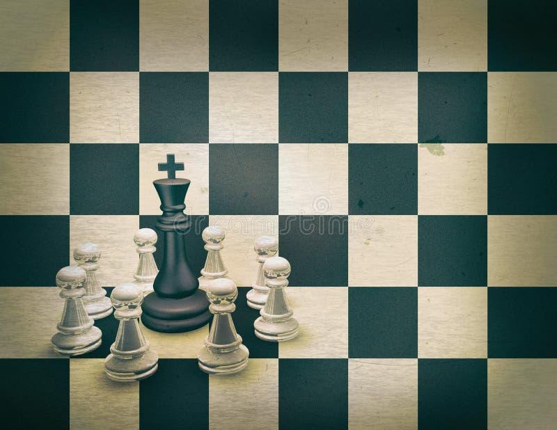 Ejemplo granoso 3D del vintage del equipo del ajedrez con el espacio de la copia libre illustration