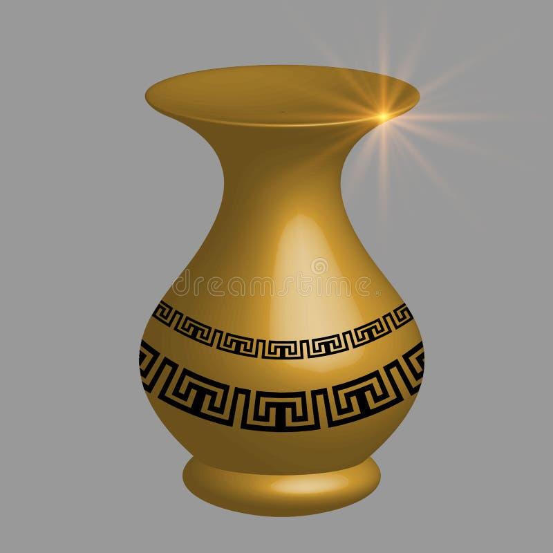 Ejemplo griego antiguo del vector de la ánfora del oro 3d ilustración del vector