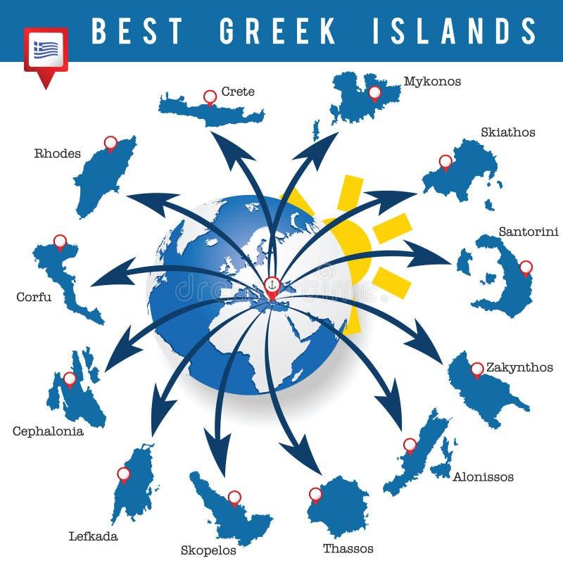 Ejemplo griego del arte del mapa de las islas libre illustration