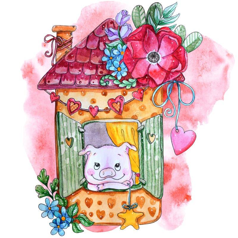 Ejemplo guarro casero dulce de la acuarela stock de ilustración