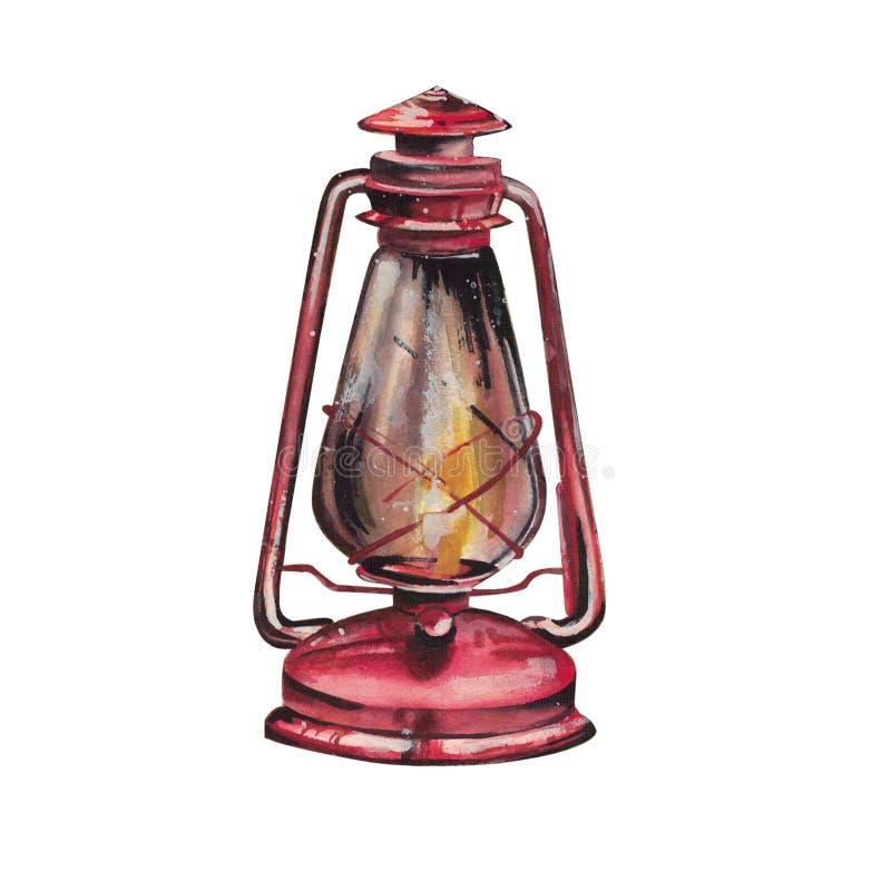 Ejemplo Handdrawn de la acuarela aislado en el fondo blanco Linterna roja hermosa de la Navidad que brilla intensamente stock de ilustración