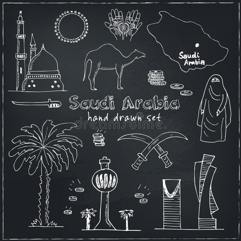 Ejemplo Handdrawn de las señales y de los iconos de la Arabia Saudita con vector moderno inglés-árabe del bosquejo del garabato d stock de ilustración