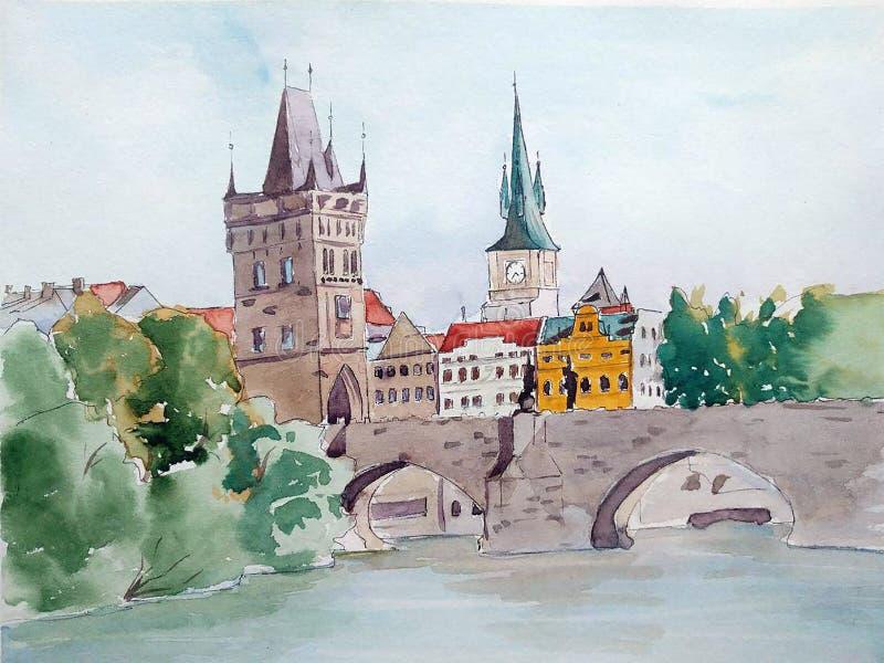 Ejemplo Handdrawn Paisaje del color de la acuarela de Praga, Charles Bridge stock de ilustración